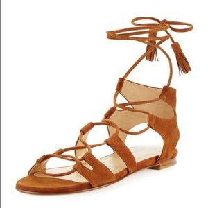 Stuart Weitzman Romanflat Suede Sandal, Size 8